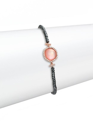 Meira T Rose Quartz, Mother-Of-Pearl, Silverite, Diamond & 14K Rose Gold Beaded Bracelet