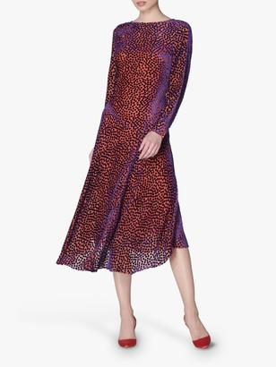 LK Bennett Bloomsbury Spot Midi Dress, Multi/Pink