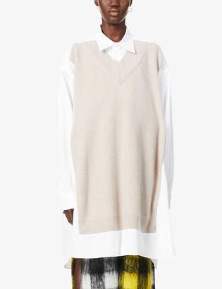 Maison Margiela Oversized cotton-poplin and wool shirt dress