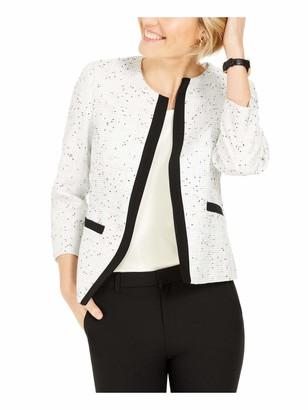 Kasper Women's Jewel Neck Tweed Open Front Jacket with Lining Detail
