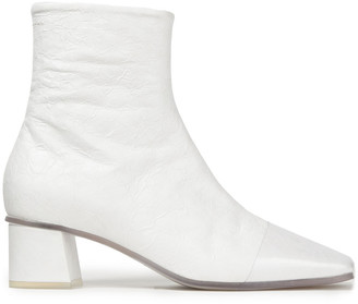 MM6 MAISON MARGIELA Patent-trimmed Faux Cracked-leather Ankle Boots