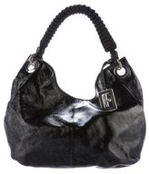 Giorgio Armani Textured Patent Leather Hobo