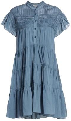 Etoile Isabel Marant Lanikaye Chambray Ruffle A-Line Shirtdress