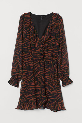 H&M Frill-trimmed wrap dress