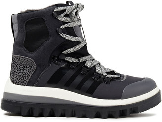 adidas by Stella McCartney Lace-up Printed Neoprene, Faux Suede And Mesh Ankle Boots