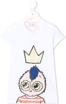 Fendi Kids Queen elongated T-shirt