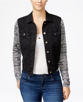 Tinseltown Juniors' Knit-Sleeve Denim Jacket