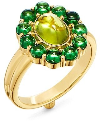 Temple St. Clair Dreamcatcher 18K Yellow Gold, Tsavorite & Peridot Cocktail Ring