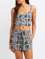 Charlotte Russe Printed Button-Up Crop Top