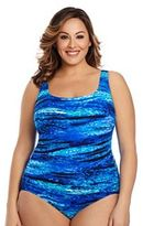 Plus Size Great Lengths Shades of Blue Tummy Slimmer One-Piece Swimsuit