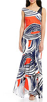 Kay Unger Bold Printed Mermaid Gown