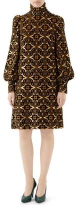 Gucci Metallic Chenille Jacquard Long Sleeve Dress