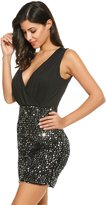 ANGVNS Women Sexy V Neck Sleeveless Sequin Ruched Bodycon Mini Clubwear Dress