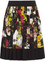 Dolce & Gabbana Fiori Pleated Floral-print Silk-blend Crepe De Chine Mini Skirt - Black