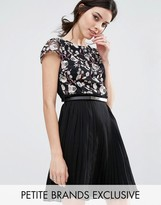 Little Mistress Petite Premium Embroidered Mini Skater Dress With Pleated Skirt