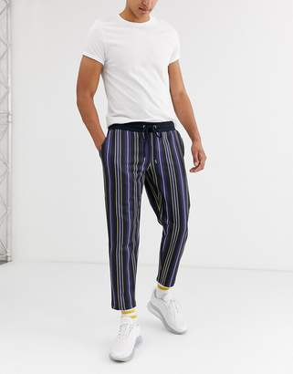 Asos Design DESIGN skinny joggers in poly tricot fabric with pin stripes-Multi