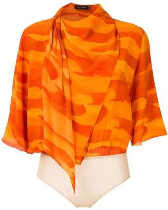 Andrea Marques Deserto silk scarf bodysuit