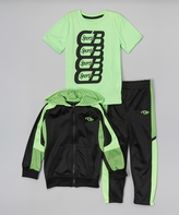 CB Sports Neon Lime Zip-Up Hoodie Set - Toddler & Boys
