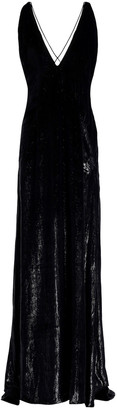 Michael Lo Sordo Open-back Velvet And Lame Gown