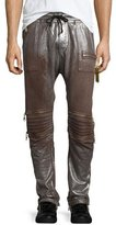 Robin's Jeans Silver-Coated Drawstring Moto Pants, Brown