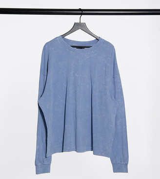 ASOS DESIGN Curve oversized long sleeve t-shirt with cuff detail in washed blue