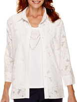 Alfred Dunner Flower Power 3/4-Sleeve Burnout Layered Top