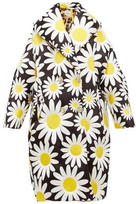 Moncler 0 Genius Richard Quinn - Daisy-print Down-filled Coat - Womens - Black Multi