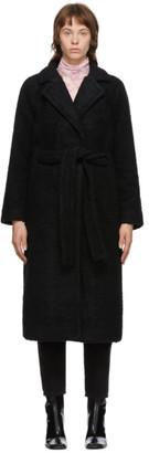 Ganni Black Wool Boucle Wrap Coat