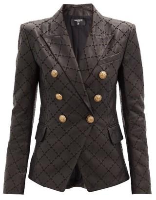 Balmain Diamond-embroidered Leather Blazer - Black