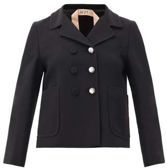 No.21 No. 21 - Tailored Crystal-button Crepe Jacket - Womens - Black