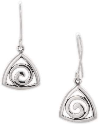Celtic Serpentina Silver Spiral Triangle Earrings