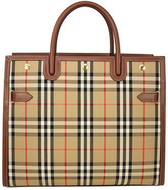 Burberry Medium Vintage Check Two-Handle Title Bag