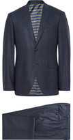 Etro Blue Slim-fit Prince Of Wales Checked Wool Suit - Storm blue