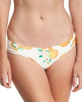 Kate Spade Tropical Fruit & Floral Gathered-Side Bikini Bottom, White