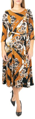 Nina Leonard Floral Scoop Neck Midi Dress