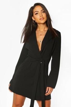 boohoo Wrap Belted Blazer Dress