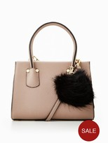 Very Micro Mini Tote With Pom Poms - Taupe