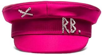 Ruslan Baginskiy Crystal-Embellished Satin Baker Boy Hat