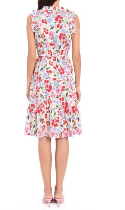 Maggy London Ruffle Neck Elastic Waist Dress