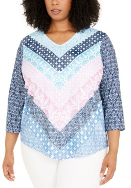 Alfred Dunner Plus Size Petal Pushers Geometric Chevron Knit Top