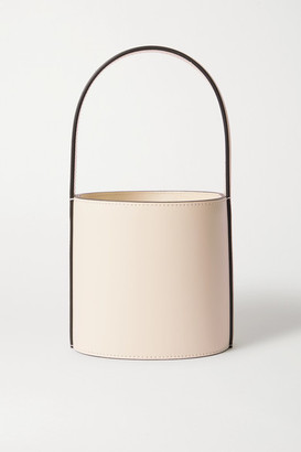 STAUD Bissett Mini Leather Bucket Bag - Cream