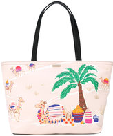 Kate Spade palm tree print tote - women - Cotton/Leather - One Size
