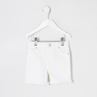 River Island Mini boys white Dylan slim denim shorts