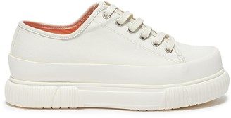 both Rubber panel contrast lining low platform canvas sneakers