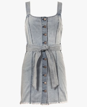 Rewash Juniors' Belted Denim Dress