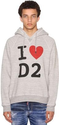 DSQUARED2 Print Cool Raglan Cotton Jersey Hoodie