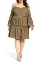 Glamorous Plus Size Women's Lace Inset Cold Shoulder Dress