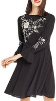 Oasis Kimono Embroidered Mini Dress, Black