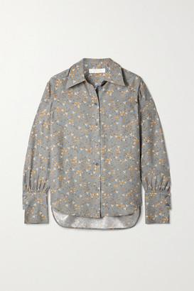 Chloé Floral-print Silk Crepe De Chine Shirt - Gray