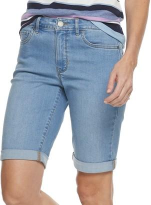 Croft & Barrow Women's Cuffed Bermuda Jean Shorts